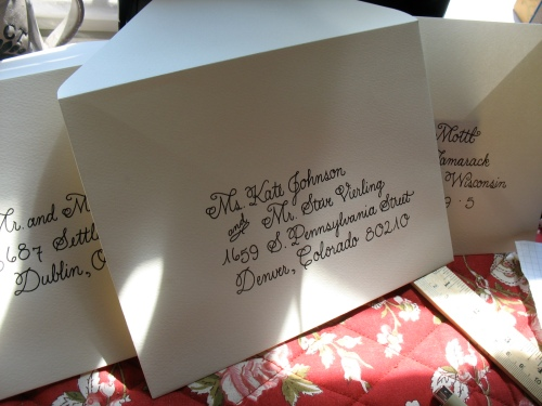 Wedding invitation addresses