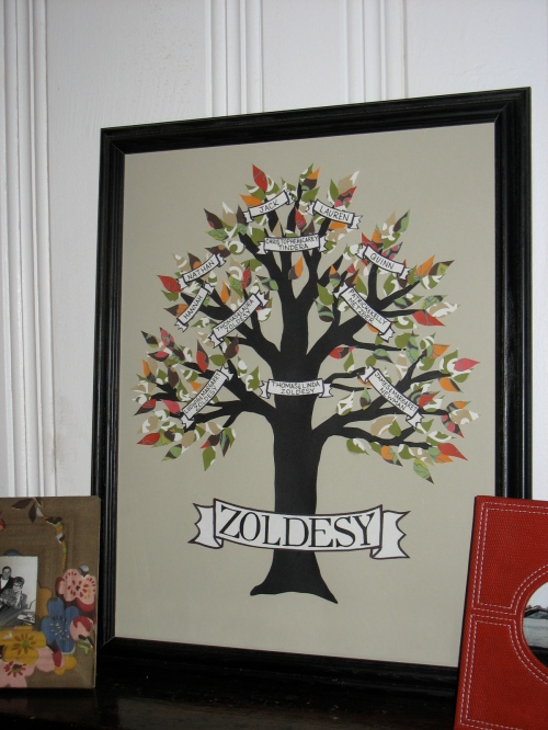 "Framed Zoldesy family tree (14""x18"")"